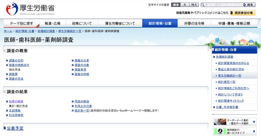 厚労省 医師・歯科医師・薬剤師調査のホームページ画面